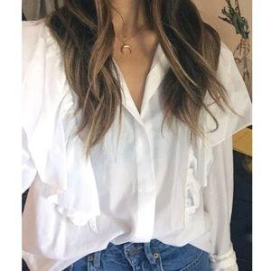 Zara ruffle top blouse shirt button down size sm